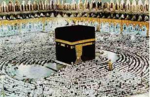Muslims make an annual pilgrimage to the Mecca, Saudi Arabia and visit the Ka'aba, the cube-shaped building that is also the direction of prayer for Muslims.